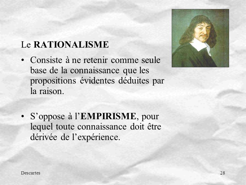 Le RATIONALISME Consiste à ne retenir comme seule base de la connaissance que les propositions évidentes déduites par la raison.