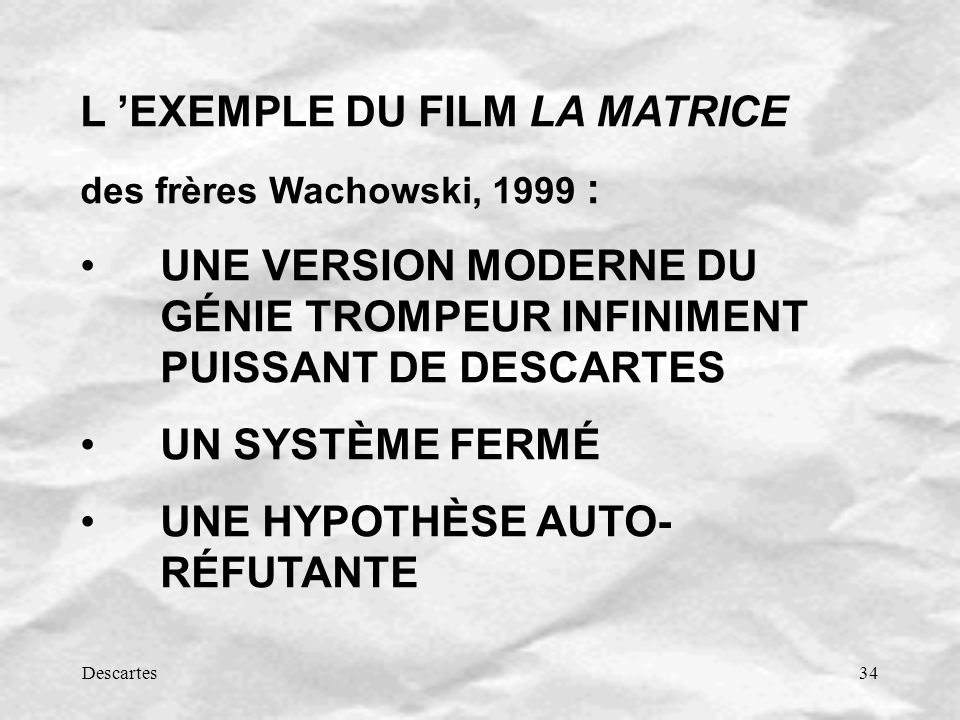 L 'EXEMPLE DU FILM LA MATRICE
