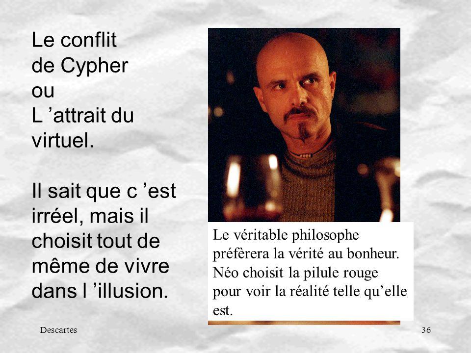 Le conflit de Cypher ou L 'attrait du virtuel. Il sait que c 'est