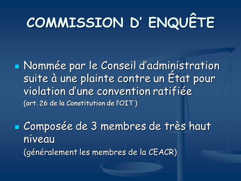 COMMISSION D' ENQUÊTE Nommée par le Conseil d'administration suite à une plainte contre un État pour violation d'une convention ratifiée.