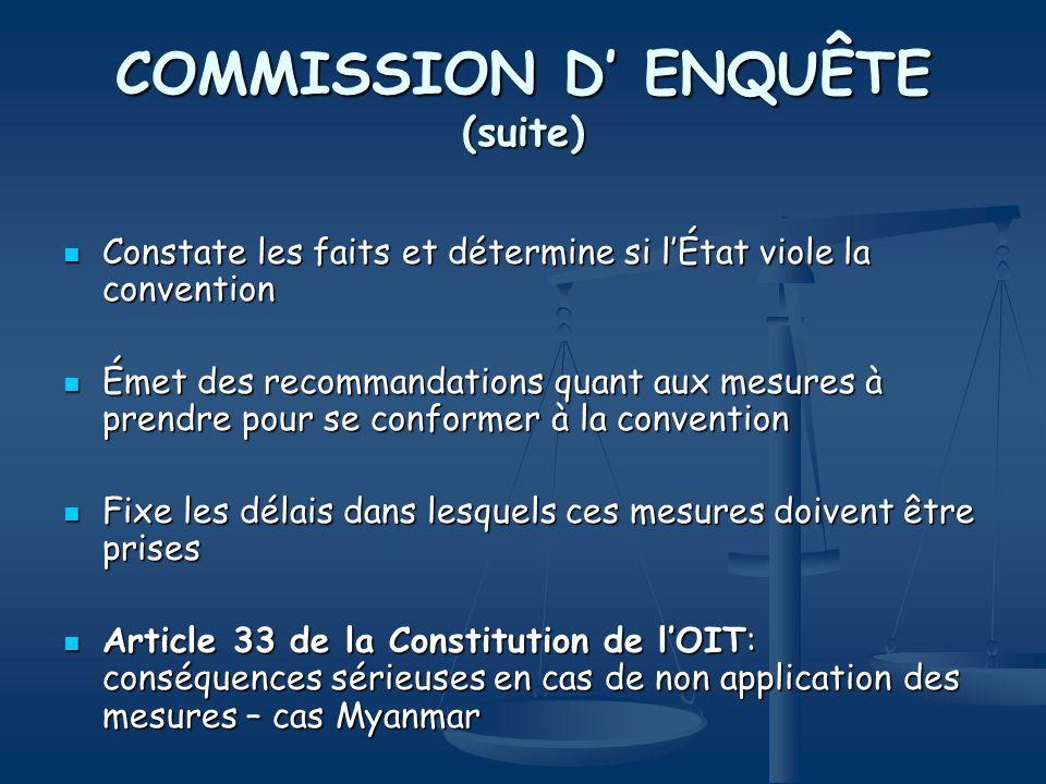 COMMISSION D' ENQUÊTE (suite)