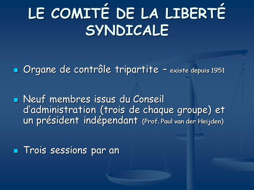 LE COMITÉ DE LA LIBERTÉ SYNDICALE