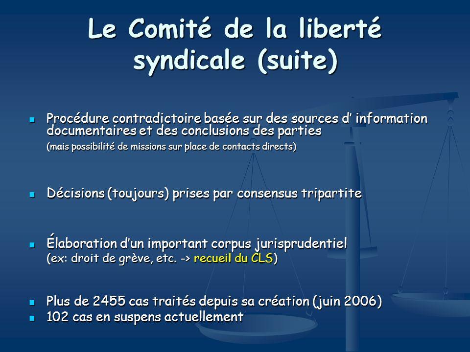 Le Comité de la liberté syndicale (suite)