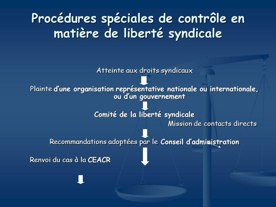 Procédures spéciales de contrôle en matière de liberté syndicale