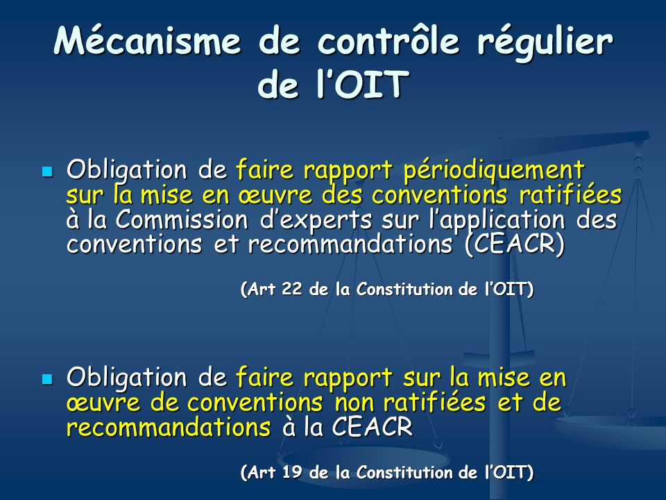 Mécanisme de contrôle régulier de l'OIT