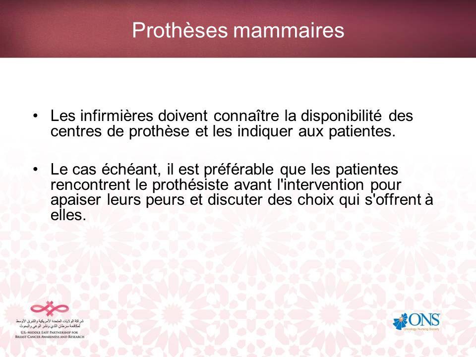 Prothèses mammairesLes infirmières doivent connaître la disponibilité des centres de prothèse et les indiquer aux patientes.