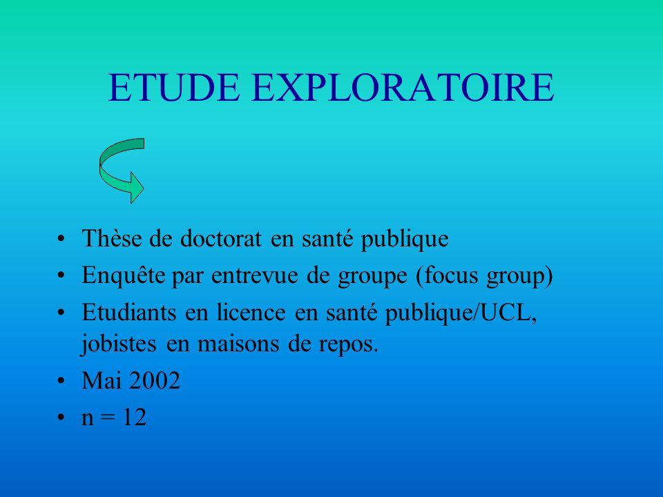 ETUDE EXPLORATOIRE Thèse de doctorat en santé publique