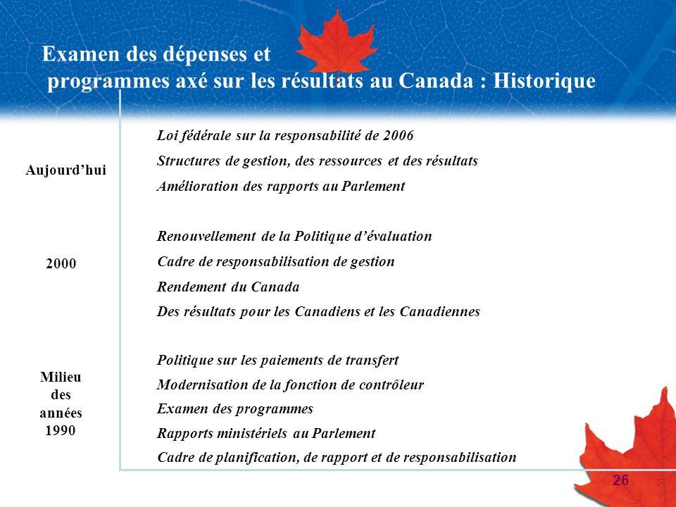 Examen des dépenses et programmes axé sur les résultats au Canada : Historique