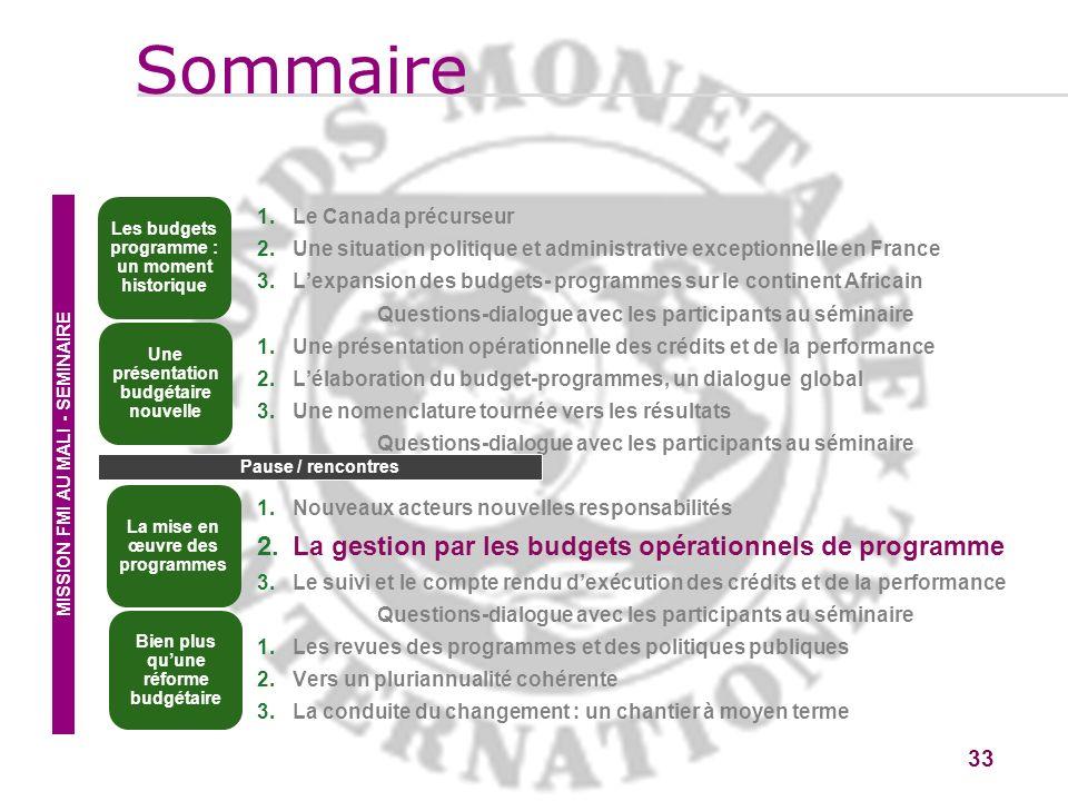 Sommaire La gestion par les budgets opérationnels de programme