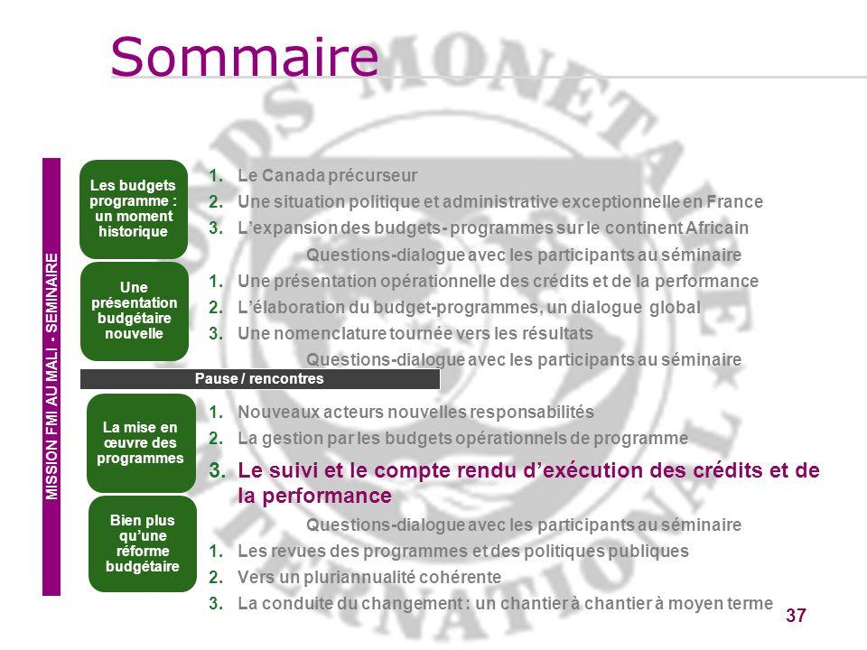 Sommaire Les budgets programme : un moment historique. Le Canada précurseur. Une situation politique et administrative exceptionnelle en France.
