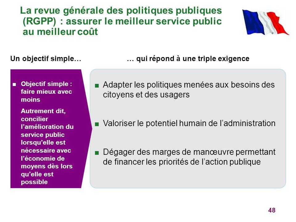 La revue générale des politiques publiques (RGPP) : assurer le meilleur service public au meilleur coût