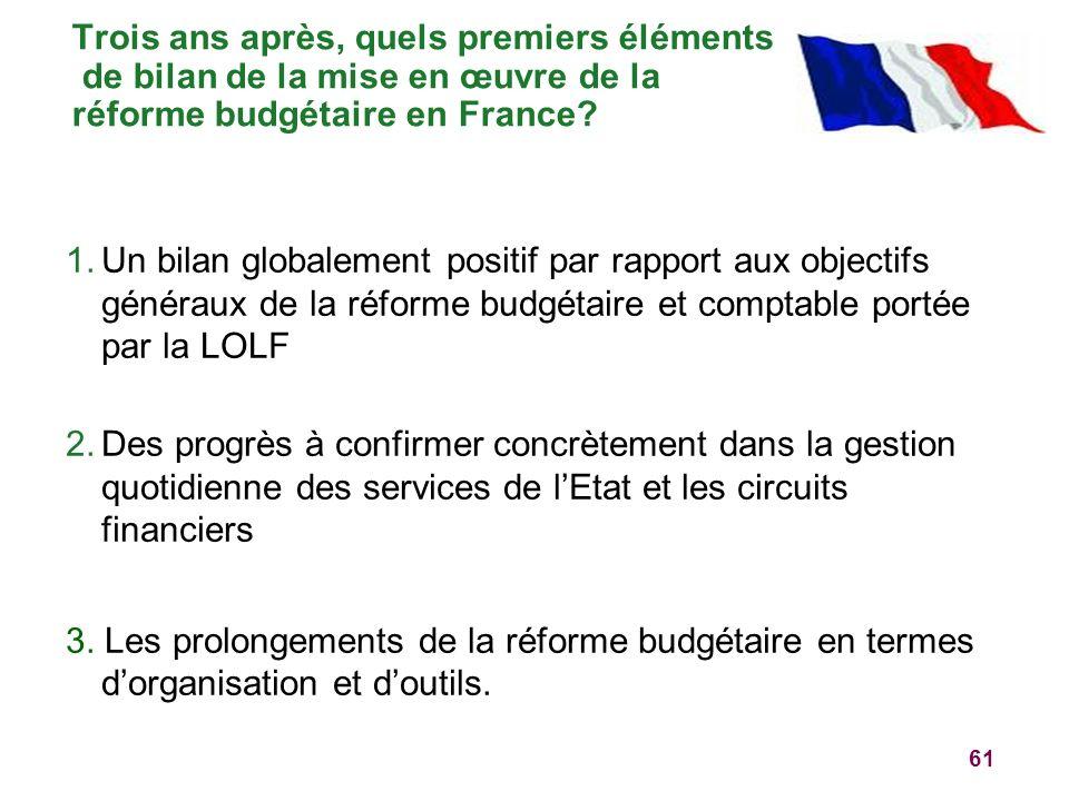 Trois ans après, quels premiers éléments de bilan de la mise en œuvre de la réforme budgétaire en France