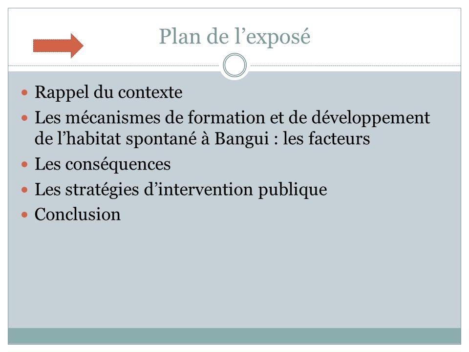 Plan de l'exposé Rappel du contexte