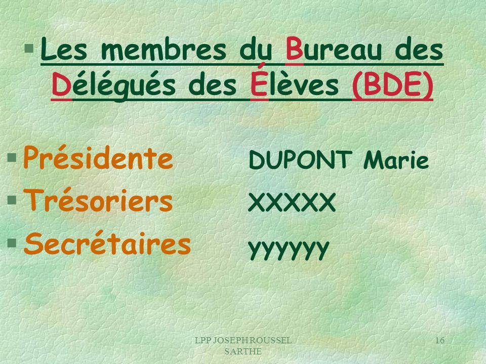 Les membres du Bureau des Délégués des Élèves (BDE)