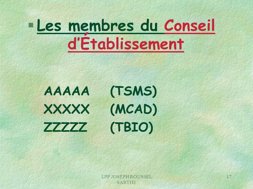 Les membres du Conseil d'Établissement
