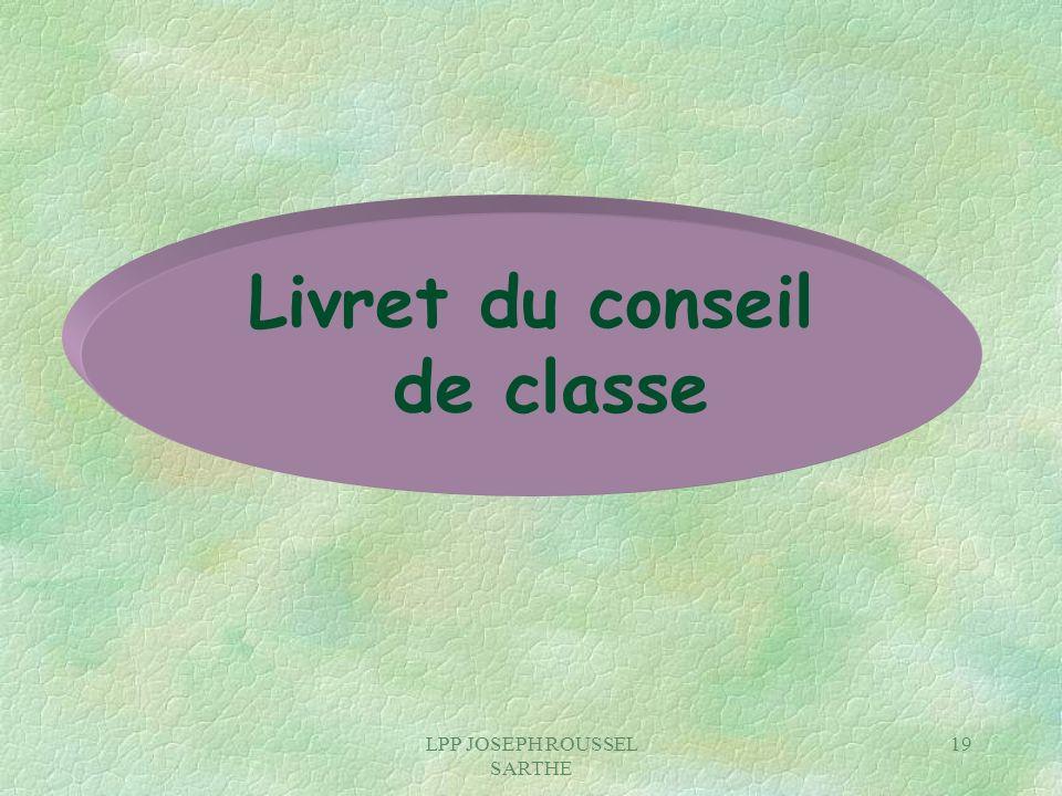Livret du conseil de classe