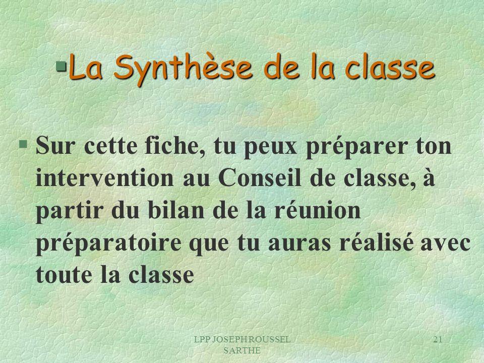 La Synthèse de la classe