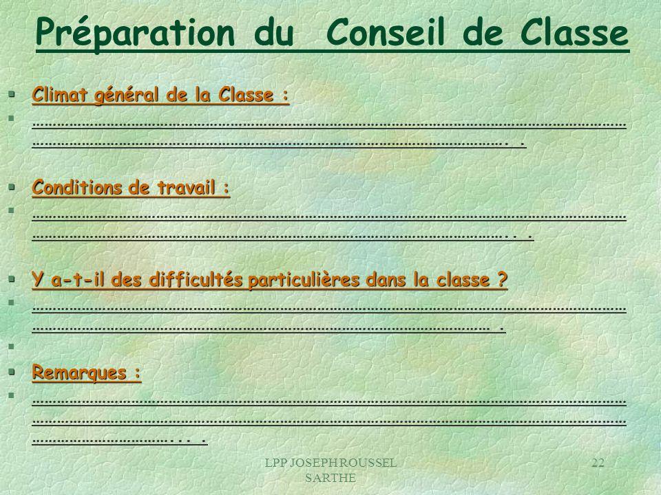 Préparation du Conseil de Classe