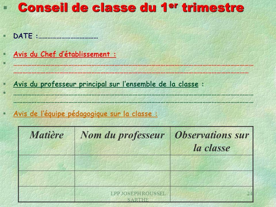 Observations sur la classe