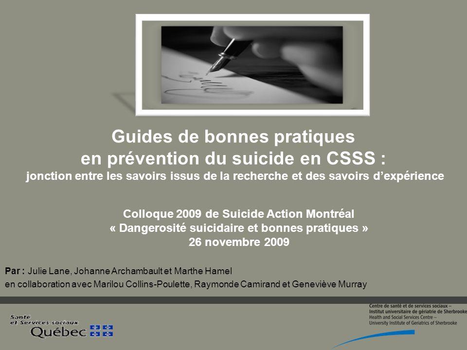 Guides de bonnes pratiques en prévention du suicide en CSSS : jonction entre les savoirs issus de la recherche et des savoirs d'expérience