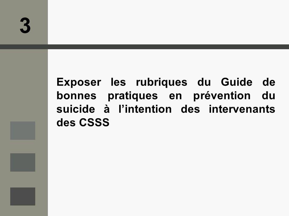 3 Exposer les rubriques du Guide de bonnes pratiques en prévention du suicide à l'intention des intervenants des CSSS.