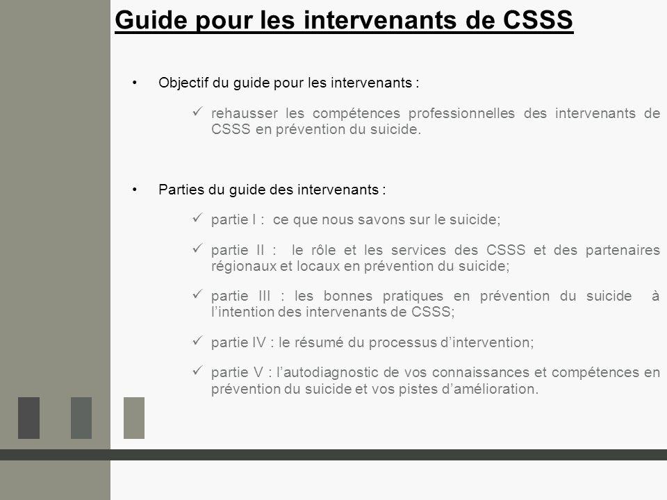 Guide pour les intervenants de CSSS