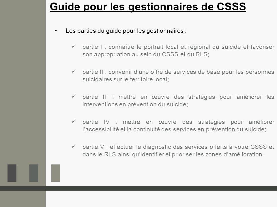 Guide pour les gestionnaires de CSSS