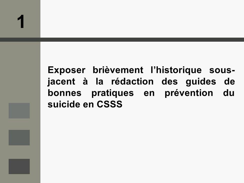 1 Exposer brièvement l'historique sous-jacent à la rédaction des guides de bonnes pratiques en prévention du suicide en CSSS.
