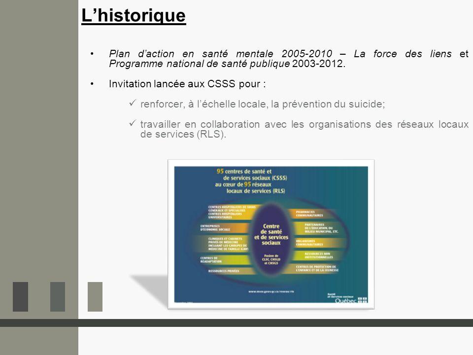 L'historique Plan d'action en santé mentale 2005-2010 – La force des liens et Programme national de santé publique 2003-2012.