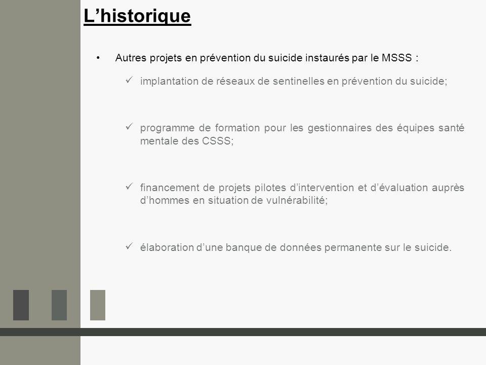 L'historique Autres projets en prévention du suicide instaurés par le MSSS : implantation de réseaux de sentinelles en prévention du suicide;