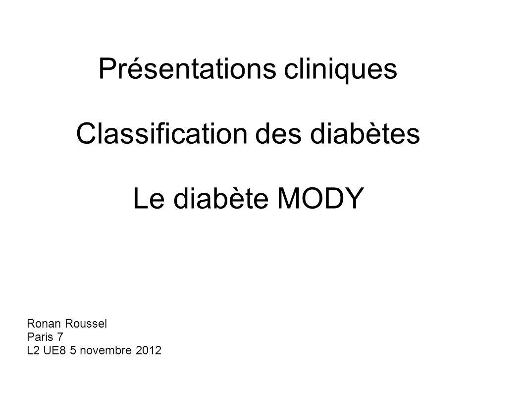 Présentations cliniques Classification des diabètes Le diabète MODY