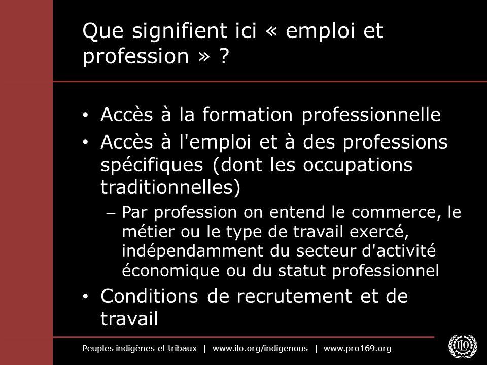 Que signifient ici « emploi et profession »