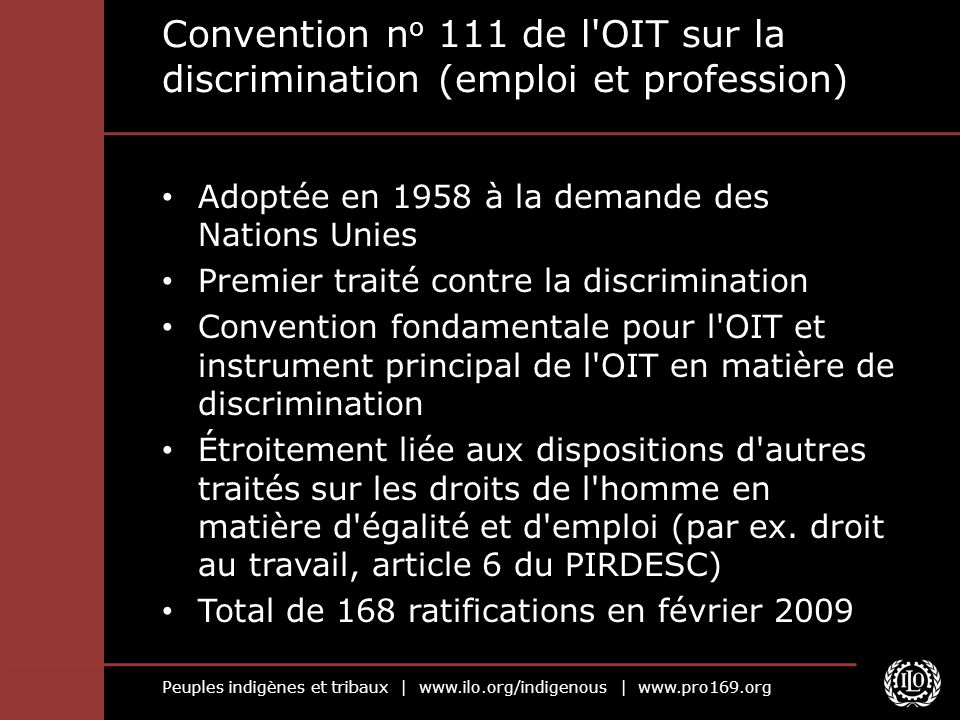 Convention no 111 de l OIT sur la discrimination (emploi et profession)