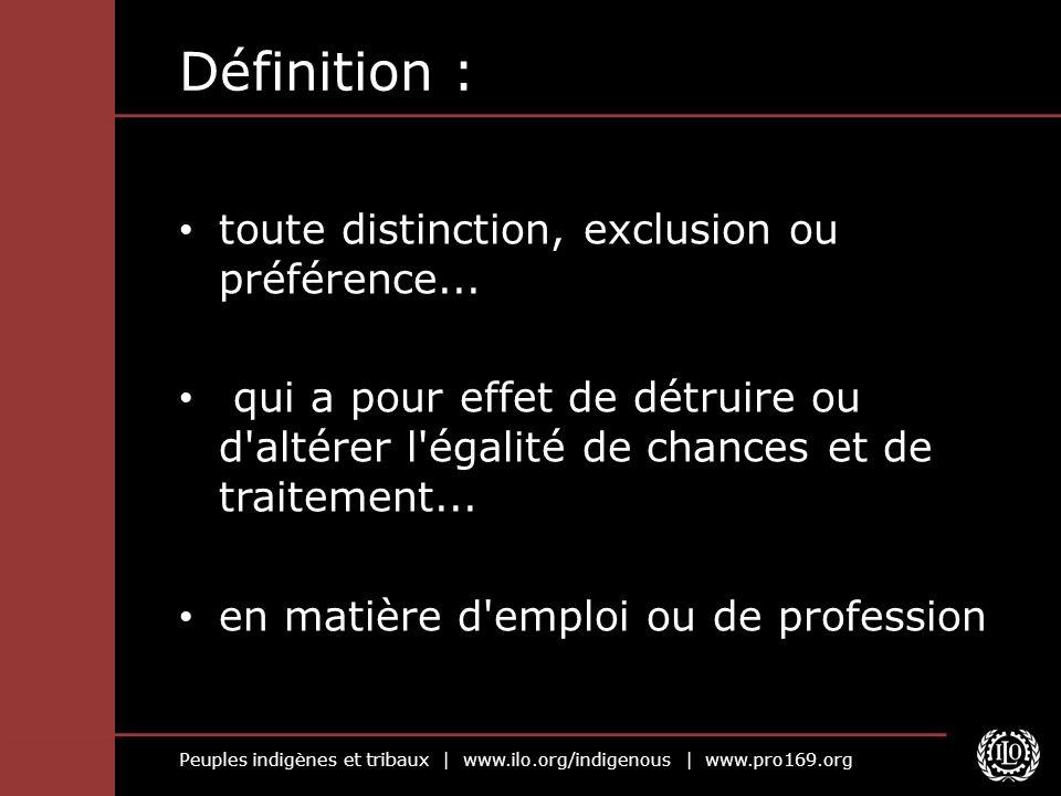 Définition : toute distinction, exclusion ou préférence...