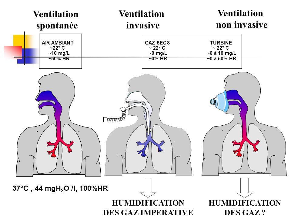 Ventilation spontanée Ventilation invasive non invasive