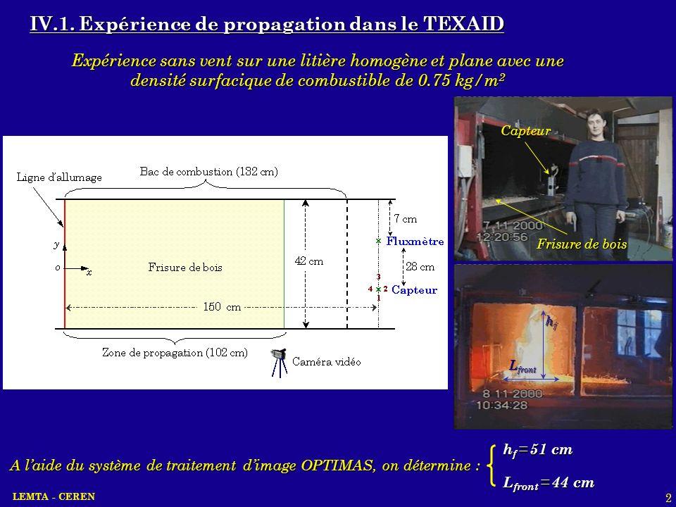 IV.1. Expérience de propagation dans le TEXAID