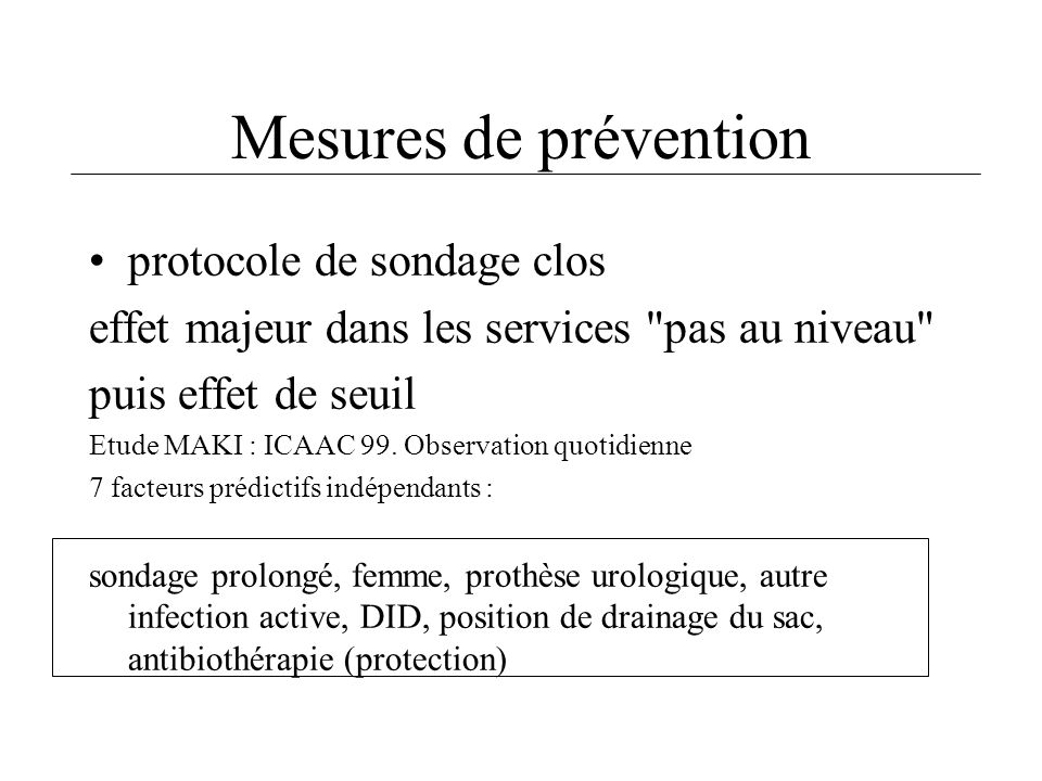 Mesures de prévention protocole de sondage clos