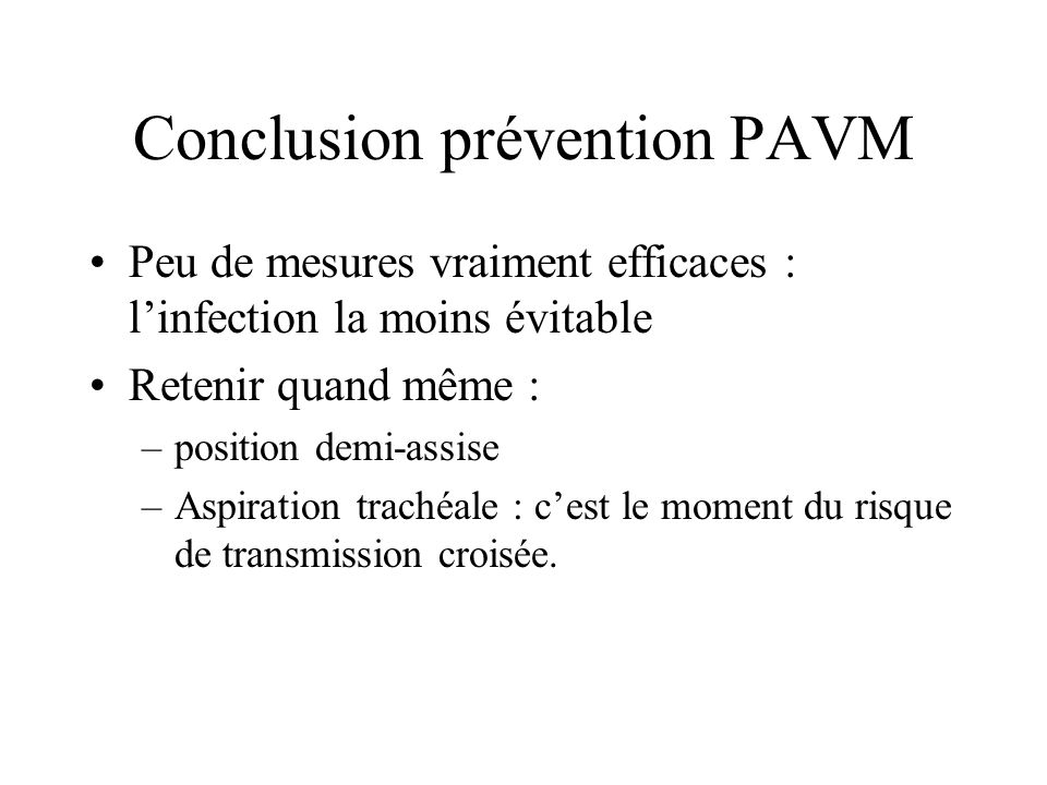 Conclusion prévention PAVM