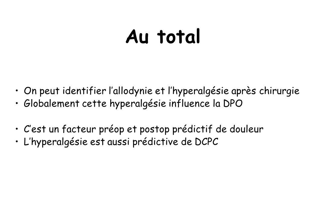 Au totalOn peut identifier l'allodynie et l'hyperalgésie après chirurgie. Globalement cette hyperalgésie influence la DPO.
