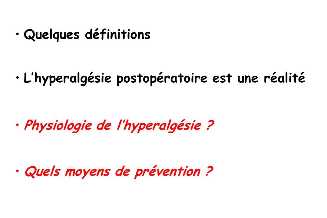 Quelques définitionsL'hyperalgésie postopératoire est une réalité.