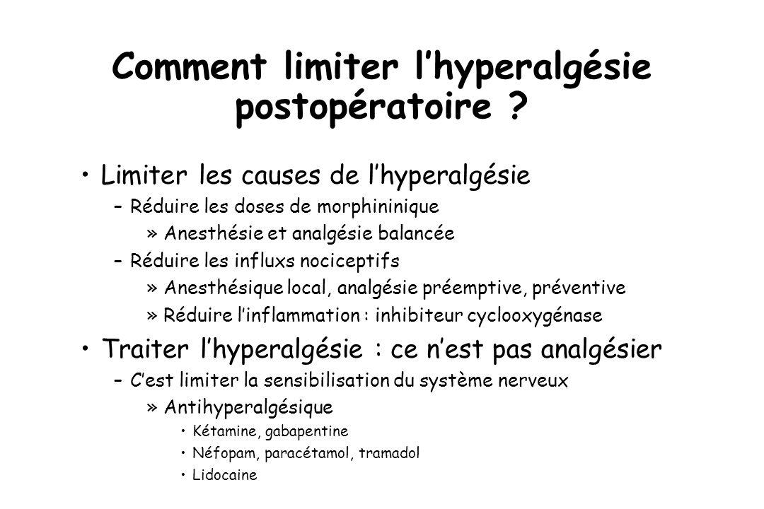 Comment limiter l'hyperalgésie postopératoire