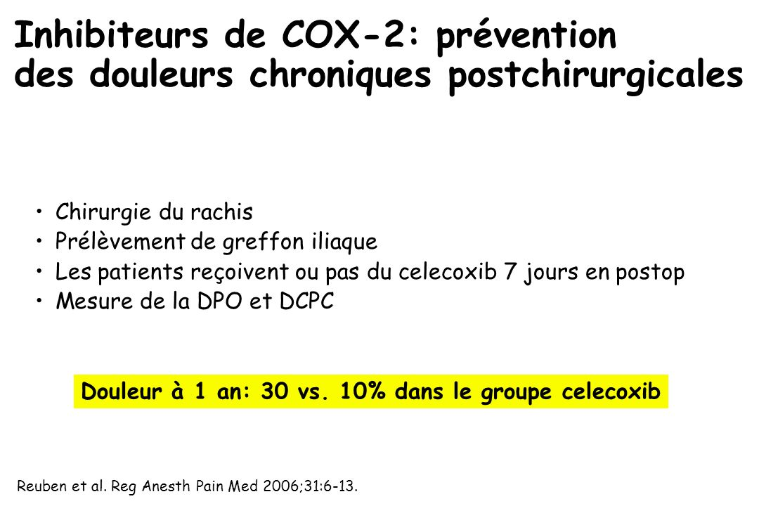 Inhibiteurs de COX-2: prévention des douleurs chroniques postchirurgicales
