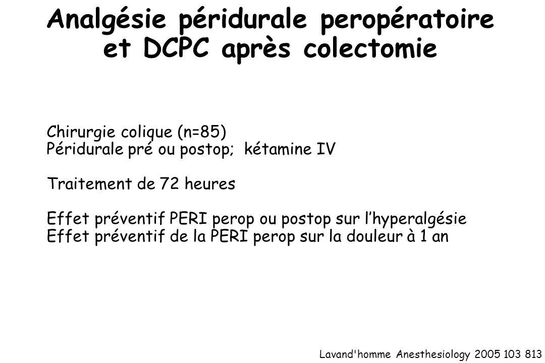 Analgésie péridurale peropératoire et DCPC après colectomie
