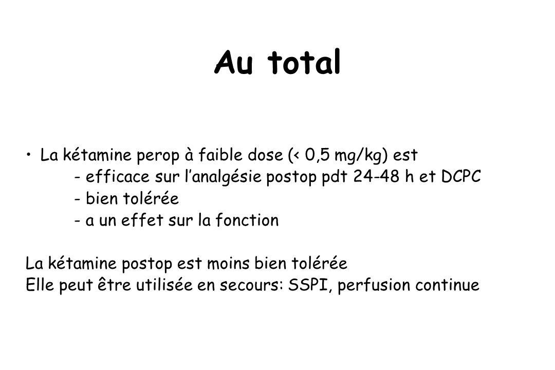 Au total La kétamine perop à faible dose (< 0,5 mg/kg) est