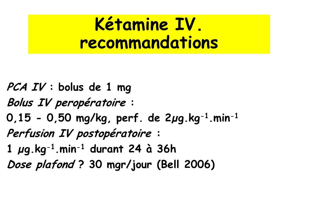 Kétamine IV. recommandations