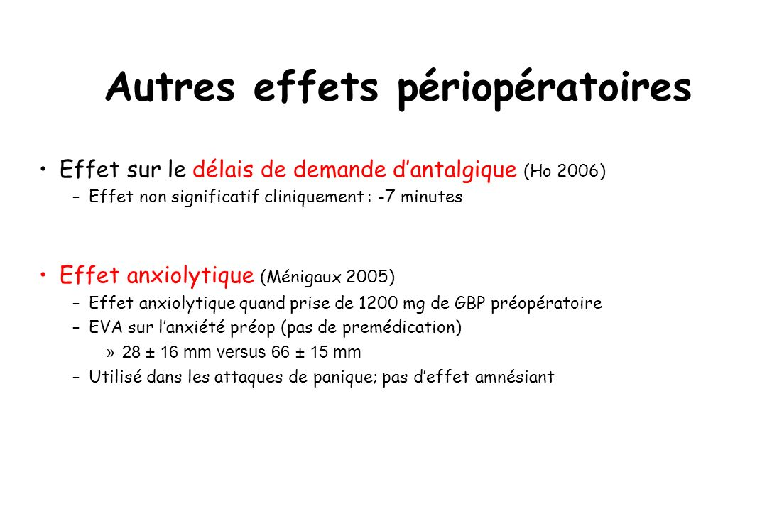 Autres effets périopératoires