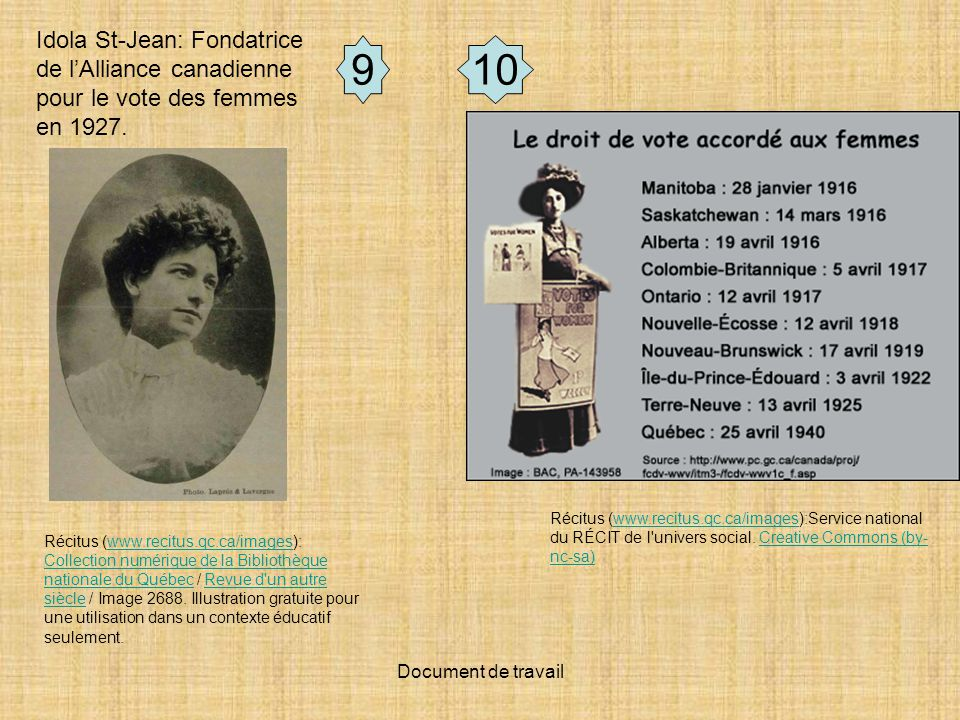 Idola St-Jean: Fondatrice de l'Alliance canadienne pour le vote des femmes en 1927.