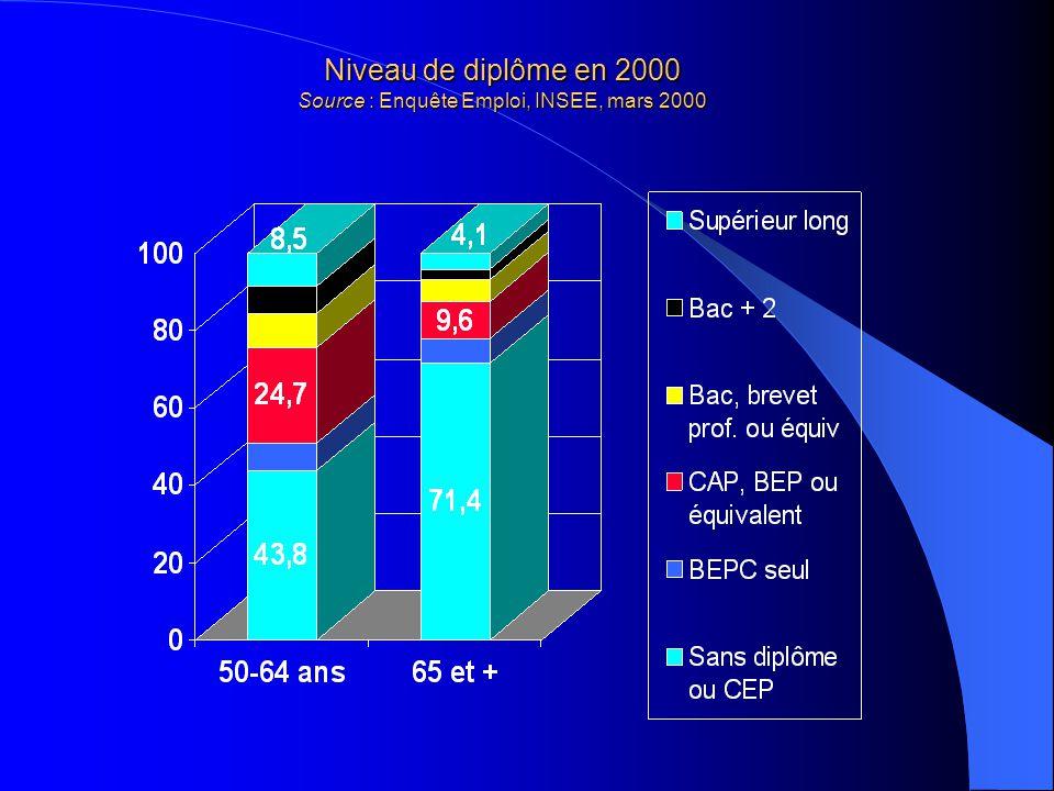 Niveau de diplôme en 2000 Source : Enquête Emploi, INSEE, mars 2000