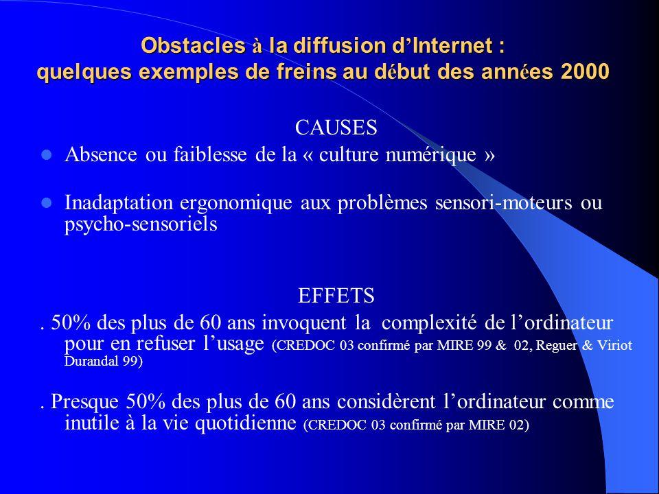 Obstacles à la diffusion d'Internet : quelques exemples de freins au début des années 2000