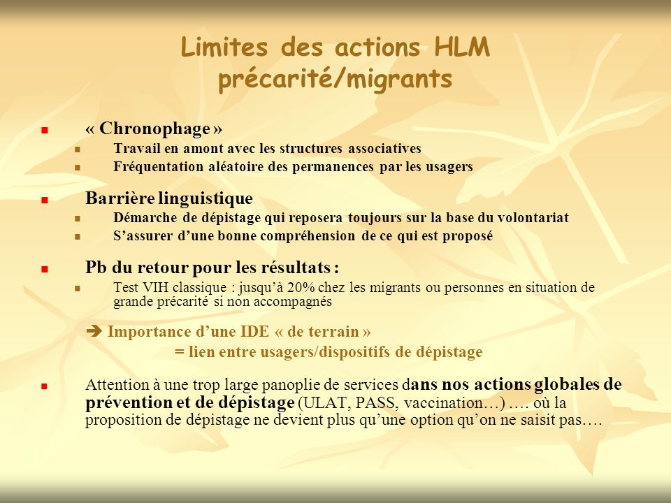 Limites des actions HLM précarité/migrants